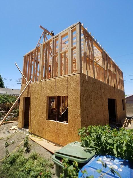 ADU build in san diego framing